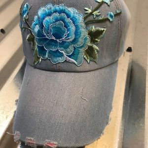 Accessories - Denim cap with floral embroidery NWT